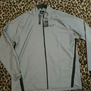 NIKE Dri-Fit Gray Zip Up Lightweight Jacket Mens